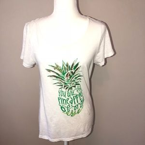 Crown &Ivy white  T-shirt with print